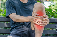 Man with knee pain and feeling bad Stock Photo