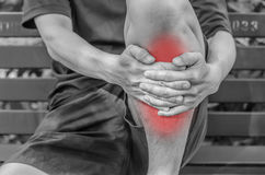 Man with knee pain and feeling bad Royalty Free Stock Photos
