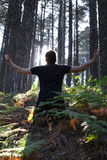 Man Kneeling with Arms Lifted in Forest Stock Image
