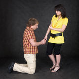 Man is kneeling to the young woman, being sorry. The man is kneeling to the young woman, being sorry Royalty Free Stock Image