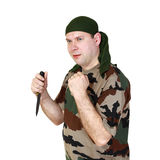 Man and knife Royalty Free Stock Photography