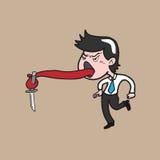 Man with knife tongue. Man tongue holds knife cartoon vector Stock Photo