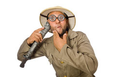 The man with knife on white Stock Photo