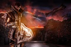 Man with knight costume. Young man cosplaying with fantasy knight costume over a fantasy landscape royalty free stock photo