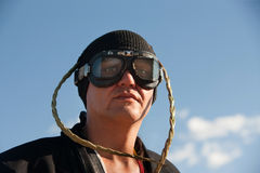 Man with knit cap and goggles Stock Photos