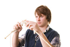 Man knitting art craft Stock Images