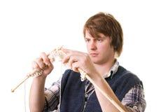 Man knitting art craft Stock Images