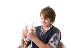 Man knitting art craft Royalty Free Stock Photos