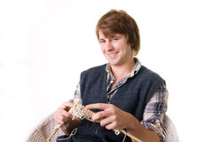 Man knitting art craft Stock Image