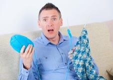 Man knitting Royalty Free Stock Image
