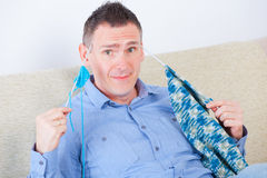 Man knitting Stock Photos