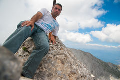 Man on Koncheto Peak on Mountain Pirin Royalty Free Stock Photo