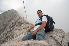 Man on Koncheto Peak on Mountain Pirin Stock Image