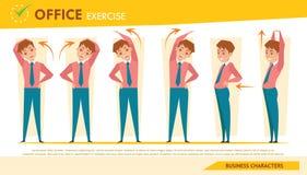 Man kontorssyndrommen som är infographic och sträcker övningsuppsättning 2 Fotografering för Bildbyråer