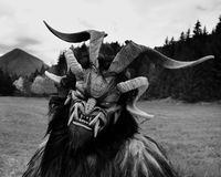 Man in Krampus costume Royalty Free Stock Photography