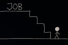Man längst ner av trappan som söker efter ett jobb, klart att lyckas, det ovanliga begreppet Royaltyfria Foton