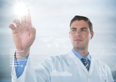 Man in lab coat touching flare with white interface against blurry grey background Royalty Free Stock Photo