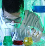 Man in the laboratory. Man working in the laboratory Stock Images