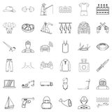Man labour icons set, outline style. Man labour icons set. Outline set of 36 man labour vector icons for web isolated on white background Royalty Free Stock Photography