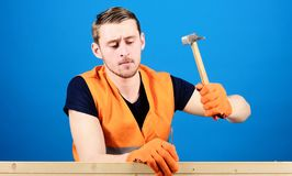 Man, labourer, handyman in bright vest and protective gloves handcrafting, blue background. Handcrafting concept. Carpenter, woodworker on concentrated face royalty free stock photo