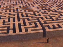 Man before labyrinth. 3d image royalty free illustration