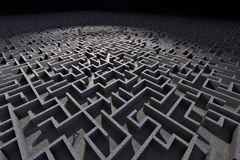 Man in labyrinth. Man entering in mysterious maze Royalty Free Stock Photos