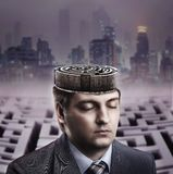 Man with labyrinth in his brain Royalty Free Stock Photos