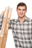 Man with ladder Royalty Free Stock Photos