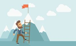 Man with a ladder Royalty Free Stock Photo
