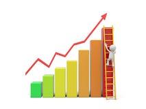 Man with ladder. 3d man, person, human climbing ladder / bar chart Stock Photo
