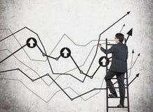Man on ladder drawing charts Stock Image