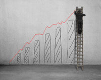 Man on ladder drawing growing red trend Stock Photography