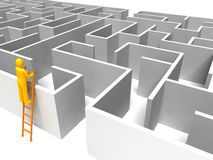 Man on the ladder with maze. Man using ladder looking for maze solution Royalty Free Stock Image