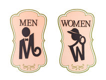 Man and a lady toilet sign. On white background Stock Photo