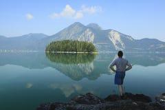 Man at lake Stock Photo