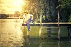 Man at the lake. An image of a bearded man at the lake Royalty Free Stock Images