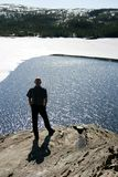 Man by a lake. Man in silhouette standing by a lake With melting ice Stock Images