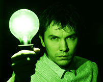 Man with lamp. Stock Photos