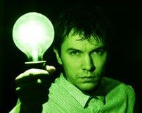 Man with lamp. Stock Photos