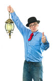 Man with lamp Royalty Free Stock Photo