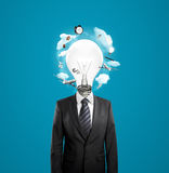 Man with lamp head Royalty Free Stock Photos