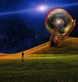 Man in Landscape. Man in Sci fi Landscape Royalty Free Stock Photography