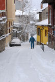 Man in the Lane in the Winter Stock Photos