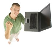 Man with laptop. Young man with laptop Royalty Free Stock Images