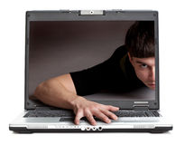 Man from laptop Royalty Free Stock Image