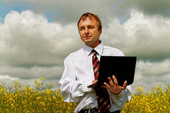 Man with laptop. Royalty Free Stock Image