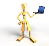 Man And Laptop. 3d image of man and laptop. White background Stock Photos
