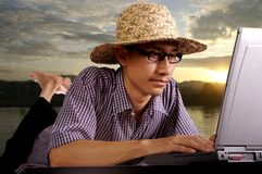 Man with laptop Stock Image