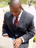 Man on laptop. Working outside Stock Photos