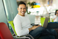Man laptop airport Royalty Free Stock Photo